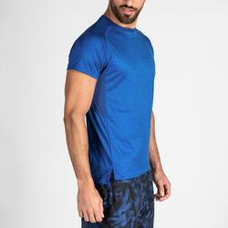 Tee shirt cardio fitness training homme FTS 120 bleu chiné.