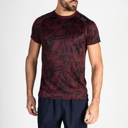 Camiseta cardio fitness training hombre FTS 120 burdeos jaspeado