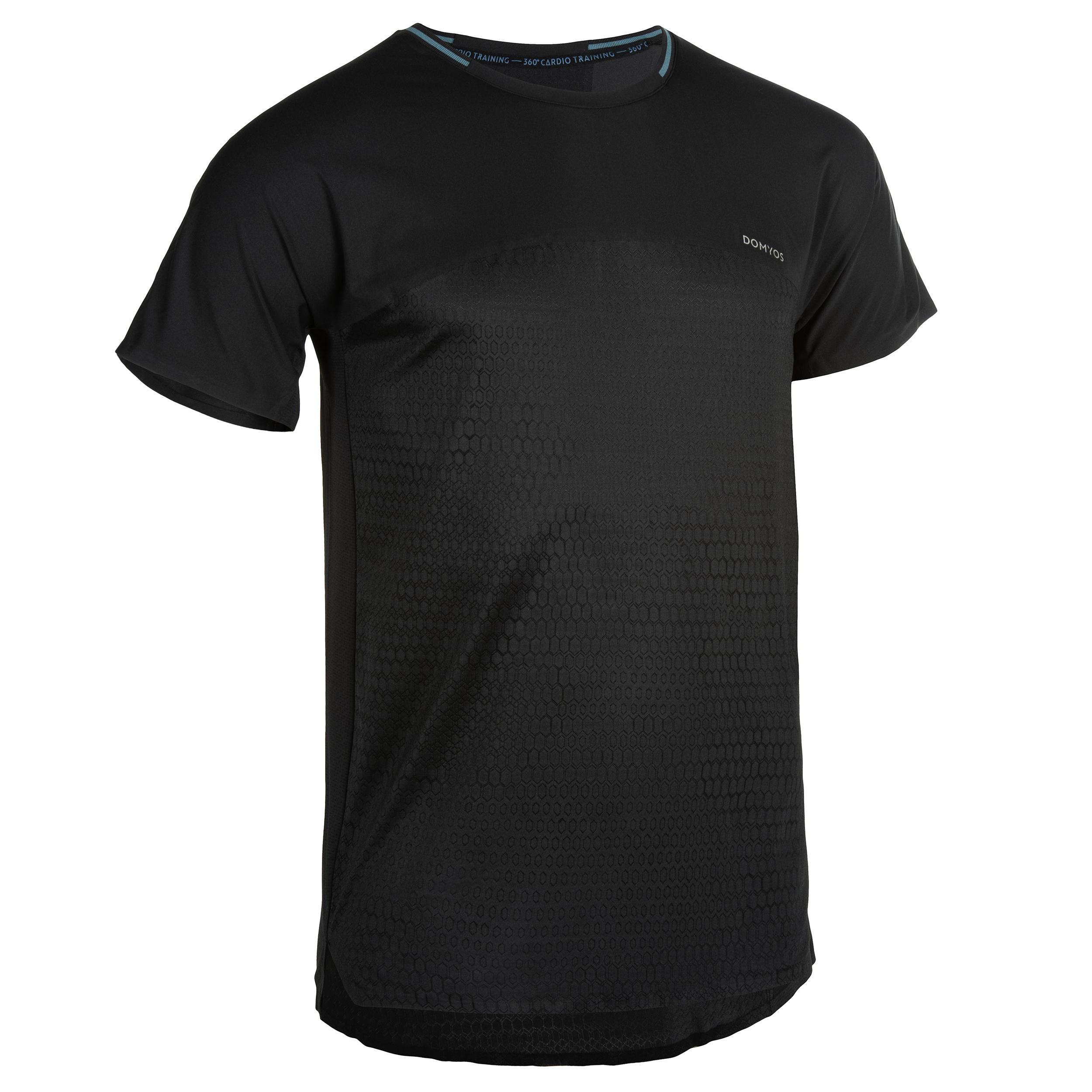 T-Shirt FTS 920 Fitness Cardio Herren schwarz | Sportbekleidung > Sportshirts > Poloshirts | Schwarz | Domyos