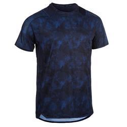 Camiseta fitness cardio-training hombre FTS 500 AOP azul