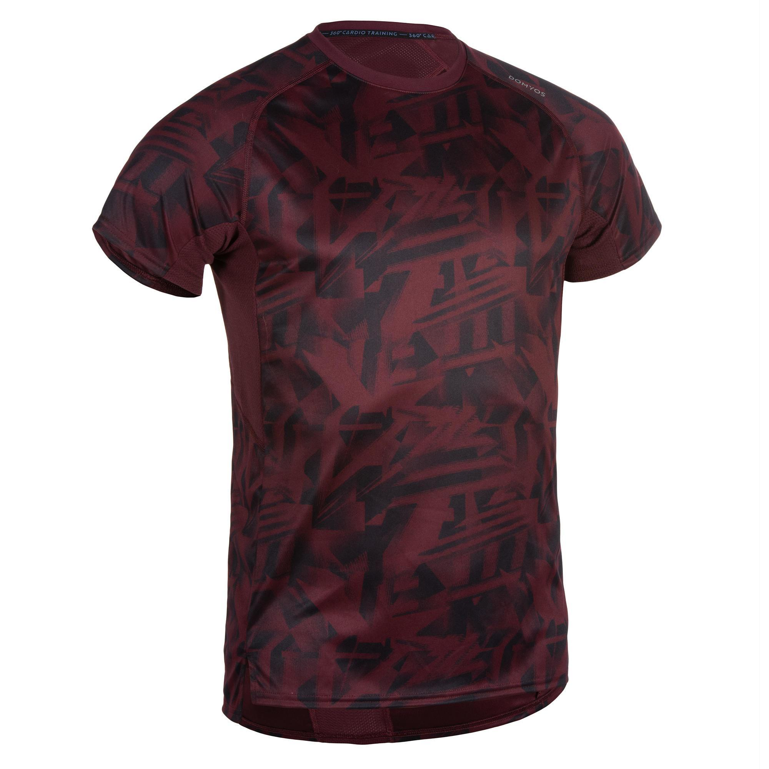 T-Shirt FTS 120 Fitness Cardio Herren bordeaux meliert | Sportbekleidung > Sportshirts > Poloshirts | Rot | Domyos