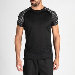Camiseta cardio fitness training hombre FTS 120 negro manga estampada