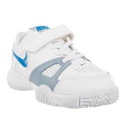 Tennisschoenen kinderen City Court 7 allcourt klittenband wit/blauw