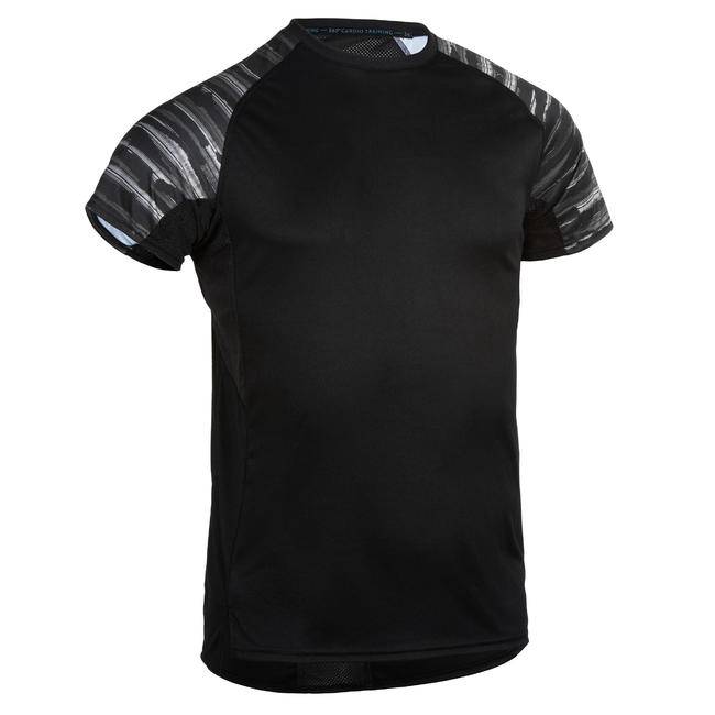 FTS 120 Fitness Cardio Training T-Shirt - Black/Sleeve Print