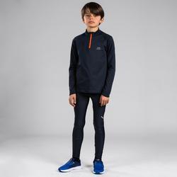 Maillot manches longues enfant d'athlétisme essentiel gris abysse