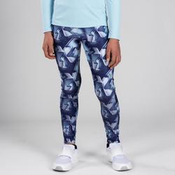 兒童田徑緊身褲AT100 - 藍色印花