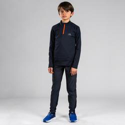 Warme atletiekbroek voor kinderen grijs/fluo-oranje