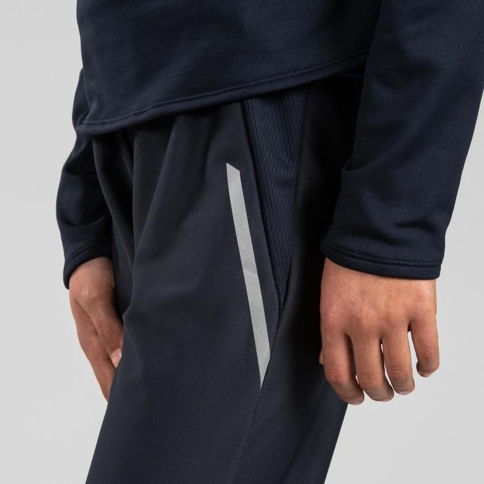 兒童田徑保暖運動褲 - 灰色霓虹橘