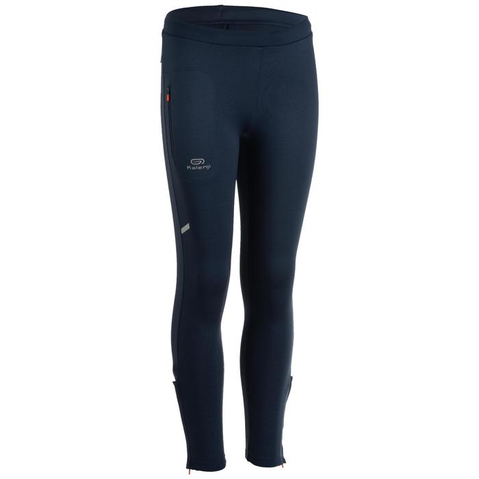 KID'S WARM ATHLETICS TIGHTS ABYSS GREY AND ORANGE