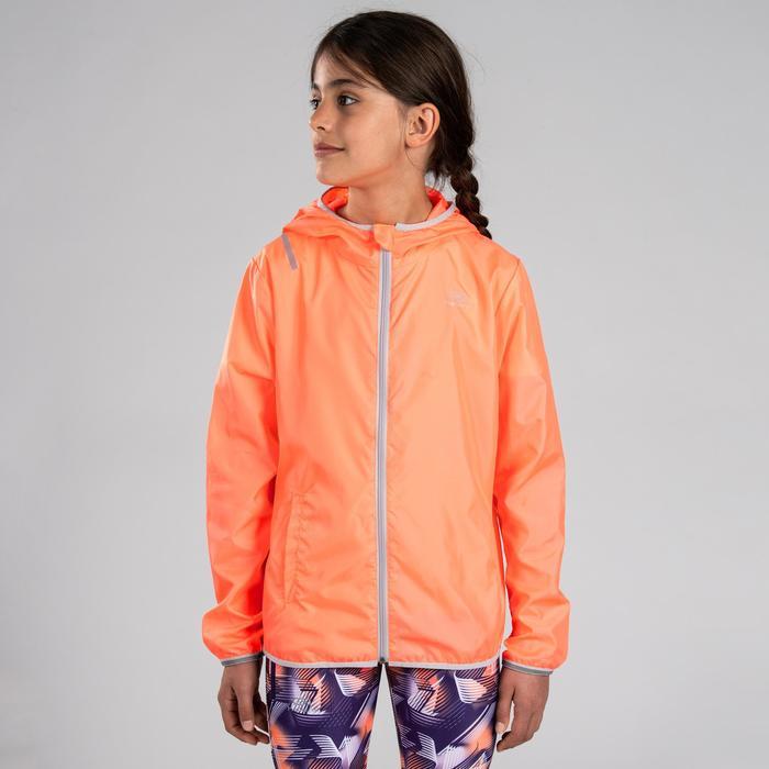 Windjack hardlopen kinderen oranje/grijs