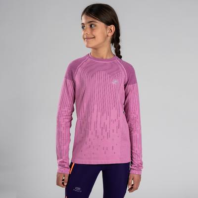 Дівчача футболка Skincare для легкої атлетики, з довгим рукавом- Рожева