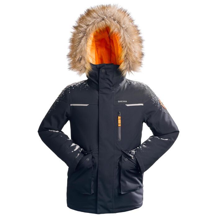Winterjacke Winterwandern SH500 Ultra-Warm Kinder Jungen 7–15 Jahre blau/grau