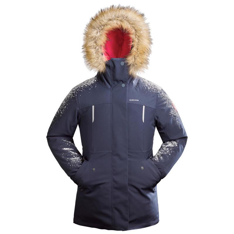 Chaqueta cálida senderismo infantil nieve SH500 u-warm niña 7-15 años azul claro