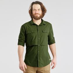 Herenoverhemd met lange mouwen voor woestijntrekking Desert 500 donkergroen