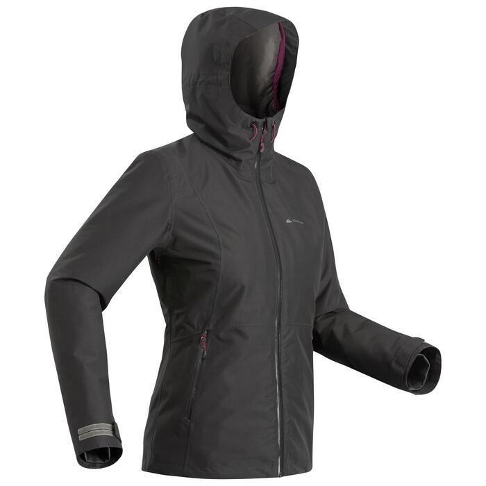 Waterdichte 3-in-1 jas voor backpacken dames comfort -8°C Travel 500 zwart