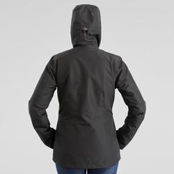 Veste 3en1 imperméable confort -8°C de trek voyage - TRAVEL 500 noire - femme
