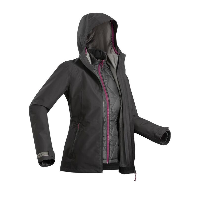 Waterdichte 3-in-1 jas voor backpacken dames Travel 500 comfort -8°C zwart
