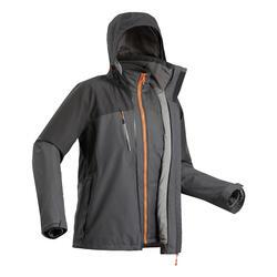 Veste 3en1 imperméable confort -10°C de trek voyage - TRAVEL 500 noire homme