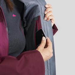 Waterdichte jas voor bergtrekking dames Trek 500 paars