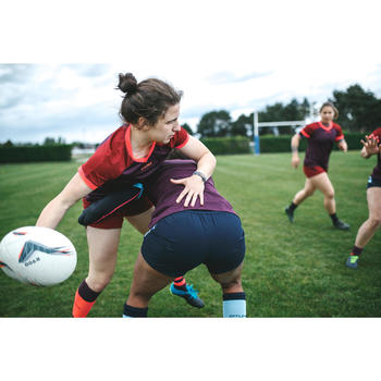 Rugbytrikot R500 Damen lila/bordeaux