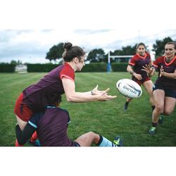 Rugbyshorts R500 Damen bordeaux/lila
