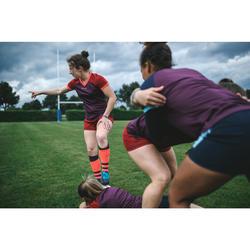 Medias Rugby Offload 500 mujer rojo y coral