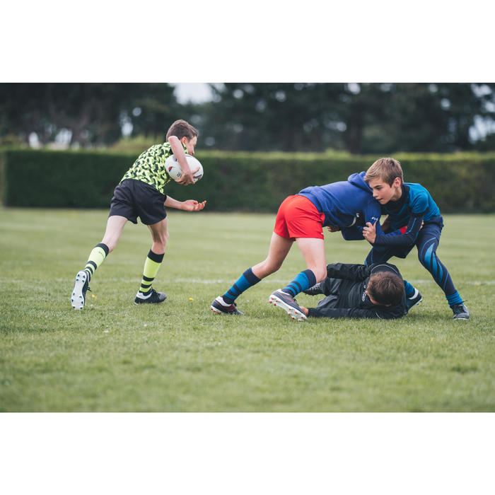 Rugbyshort met zakken voor kinderen R100 rood