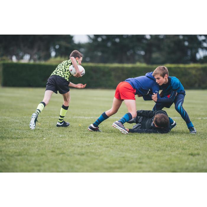 Rugbyshorts R100 Kinder mit Taschen rot