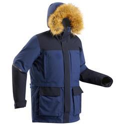 超保暖中性極地登山連帽外套500-藍色