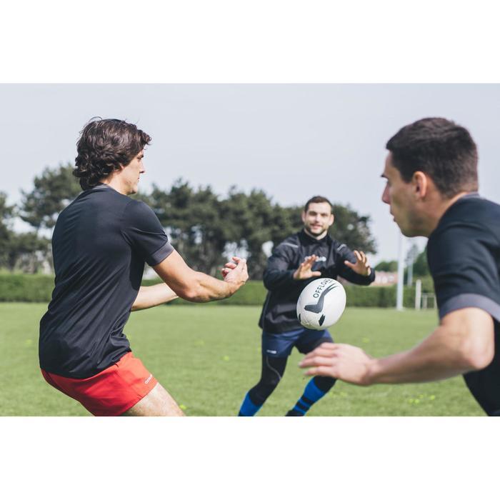 Balón de Rugby Offload R300 talla 5 blanco y negro
