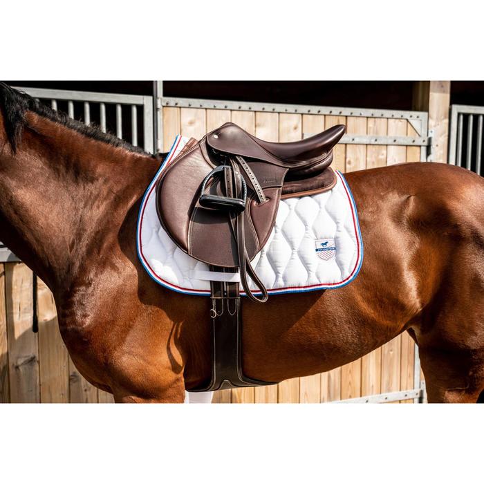 Mantilla silla Equitación Fouganza 500 Poni Y Caballo Blanco