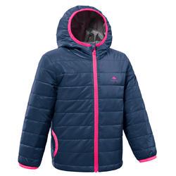 Gewatteerde trekkingjas voor kinderen MH500 marineblauw/roze