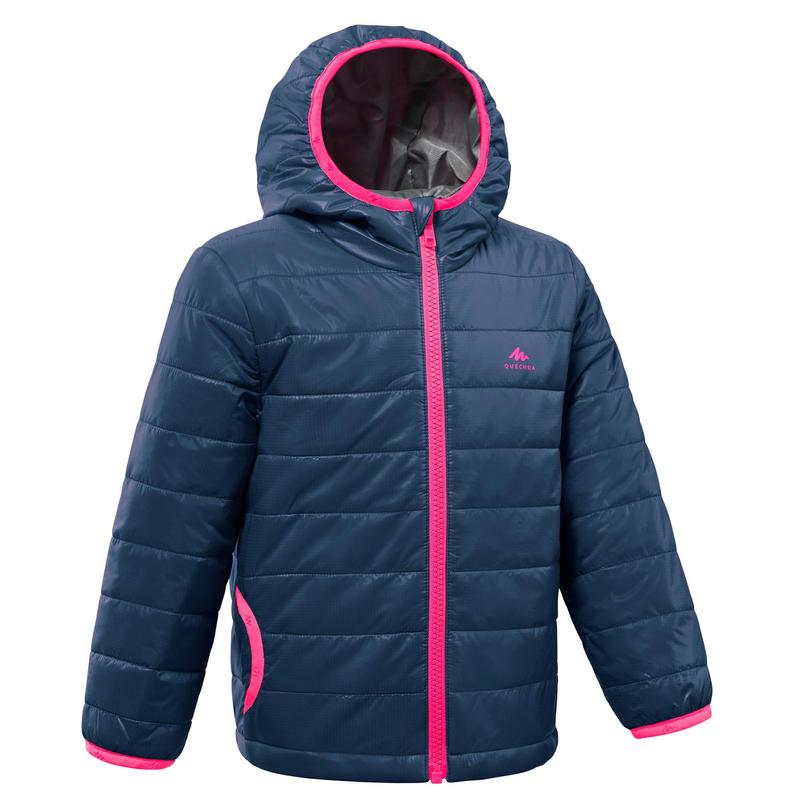 Kids' Hiking Padded Jacket MH500 2-6 Years - navy blue and pink