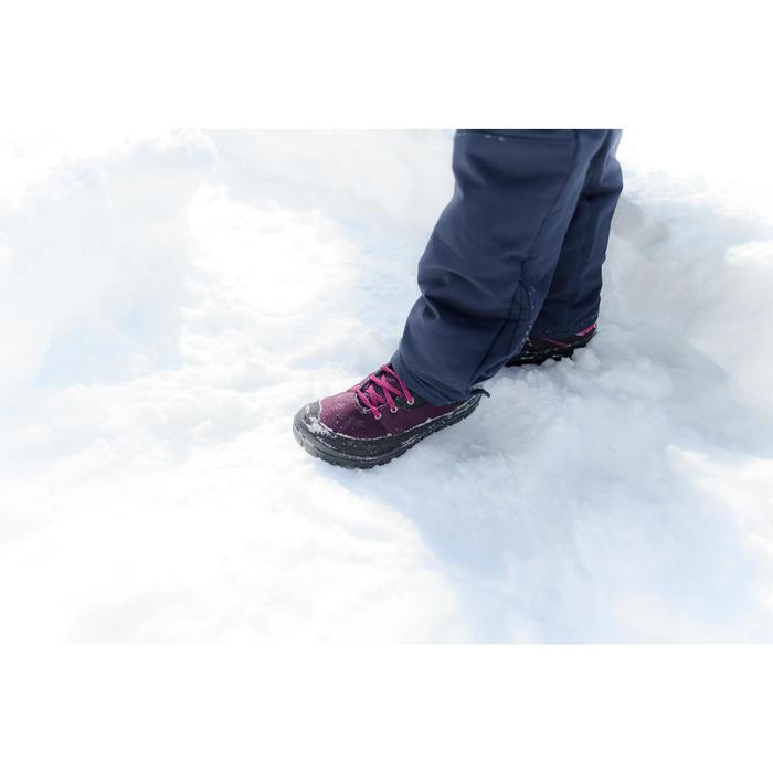 Chaussures chaudes de randonnée neige enfant SH100 warm lacet mid roses