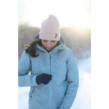 Veste chaude imperméable de randonnée neige femme SH100 x-warm bleu-ice