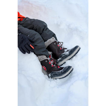 Kids' Snow Hiking Boots Leather SH500 X-Warm - Brown