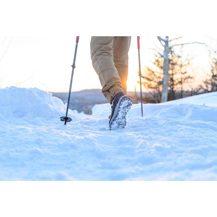 Men's warm hiking Trousers SH500 X-Warm - Brown.