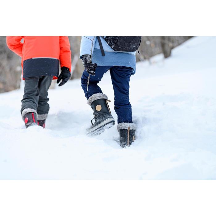 Snowboots kinderen SH500 X-Warm leer bruin
