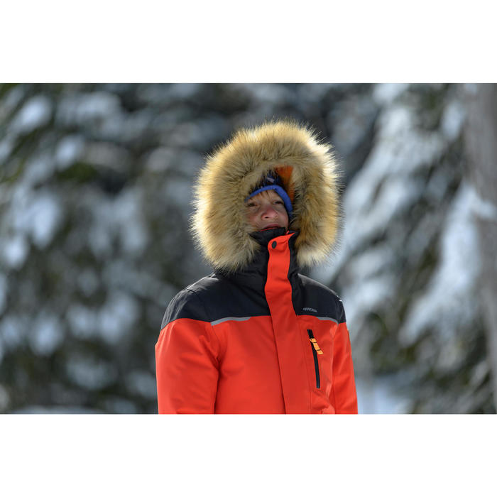 男童款極致保暖雪地健行外套SH500(7到15歲)-紅色。