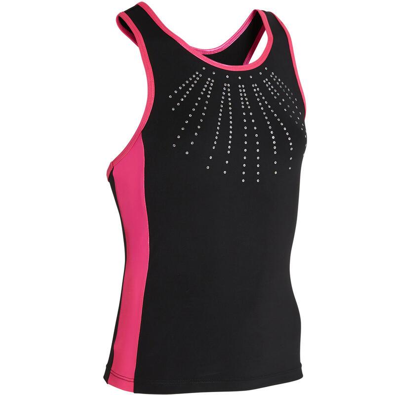 Débardeur de Gymnastique Artistique Féminine 500 noir rose sequins