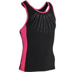 Canotta ginnastica artistica femminile 500 nero-rosa con strass