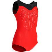 Girls' Artistic Gymnastics Sleeveless Leotard 540 - Red/Black