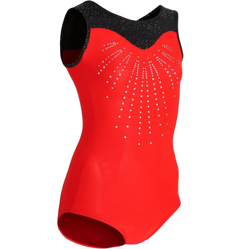 DívčÍ gymnastický dres 540 bez rukávů červeno-černý s flitry