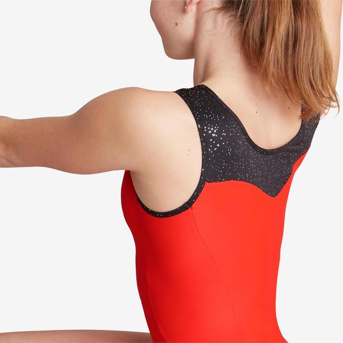 Mouwloos gympakje voor toestelturnen dames 540 rood/zwart