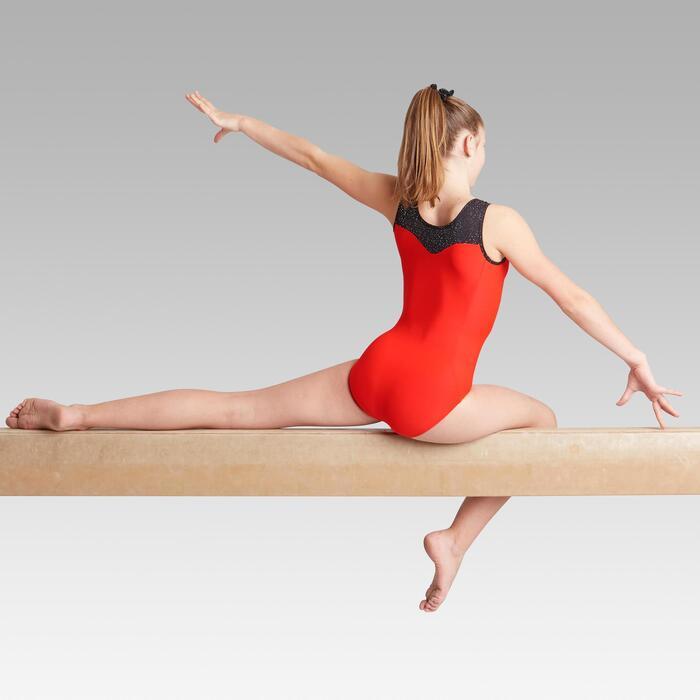 Justaucorps sans manche rouge et noir 540 Gymnastique Artistique Féminine
