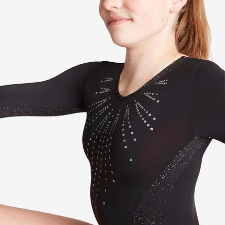 500 Women's Artistic Gymnastics Long-Sleeved Leotard – Black
