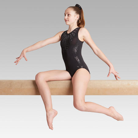 500 Women's Artistic Gymnastics Sleeveless Leotard - Black