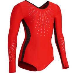 Maillot de manga larga rojo 500 gimnasia artística femenina