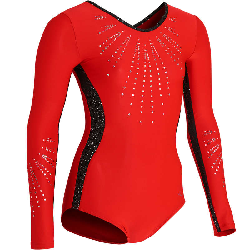 WOMEN ARTISTIC GYM APPAREL, HAND GRIP Gymnastics - 500 Long-Sleeved Leotard - Red DOMYOS - Gymnastics