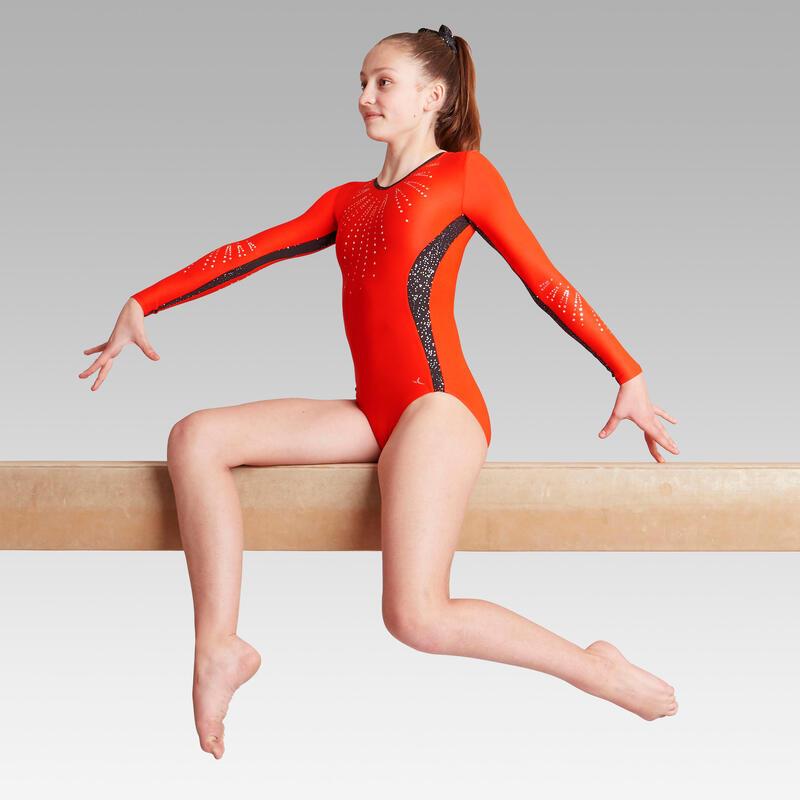 Justaucorps manches longues rouge 500 Gymnastique Artistique Féminine